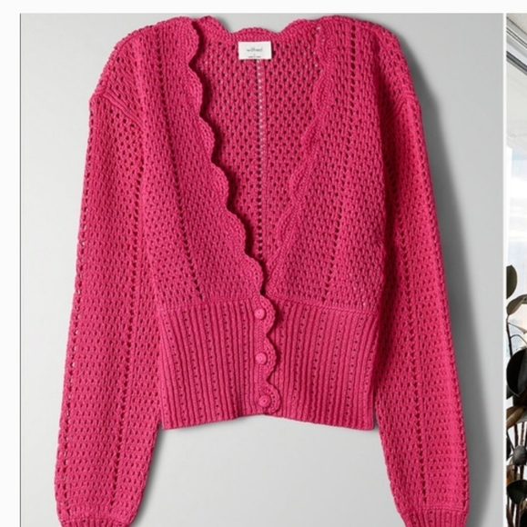 Aritzia Wilfred Dark Pink Cardigan